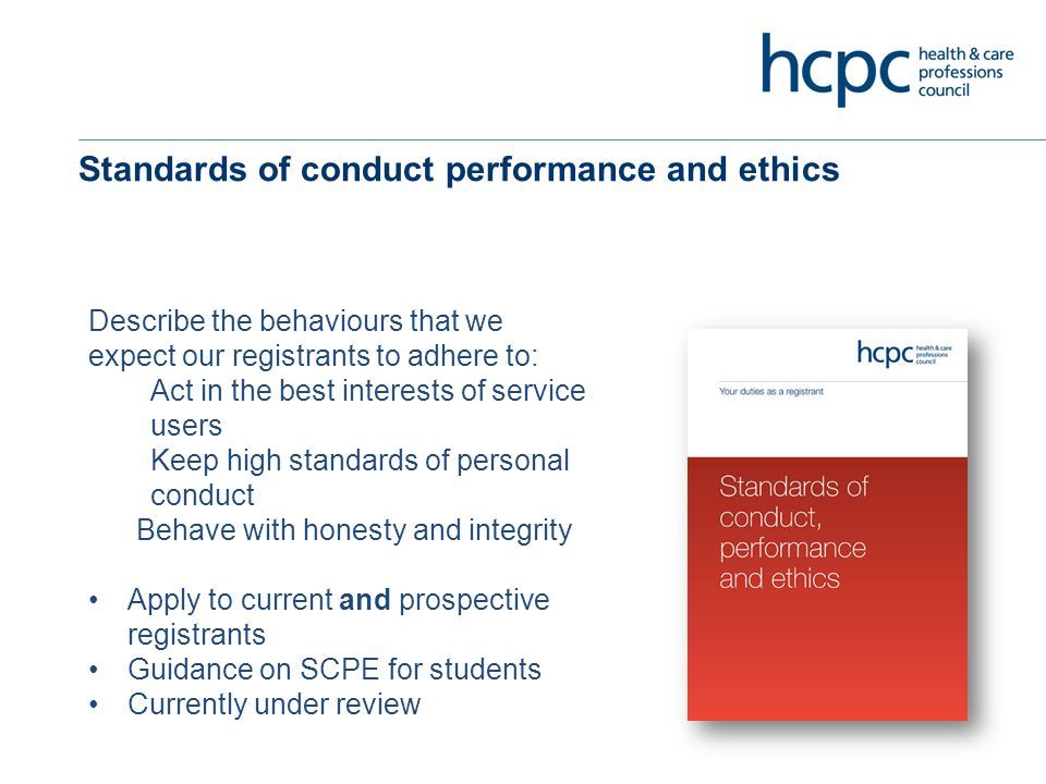 Standards of continuing professional development Requirements for on-going learning Outcome based approach Statutory requirement for all HCPC registrants Computer-generated random sample from 2.5% of each profession