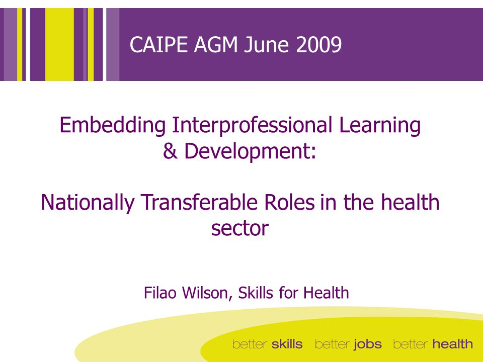 CAIPE AGM June 2009 Embedding Interprofessional Learning & Development: Nationally Transferable Roles in the health sector Filao Wilson, Skills for He