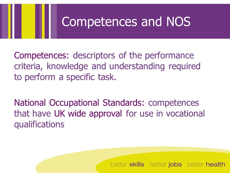 Competences and NOS Competences: descriptors of the performance criteria, knowledge and understanding required to perform a specific task. National Oc