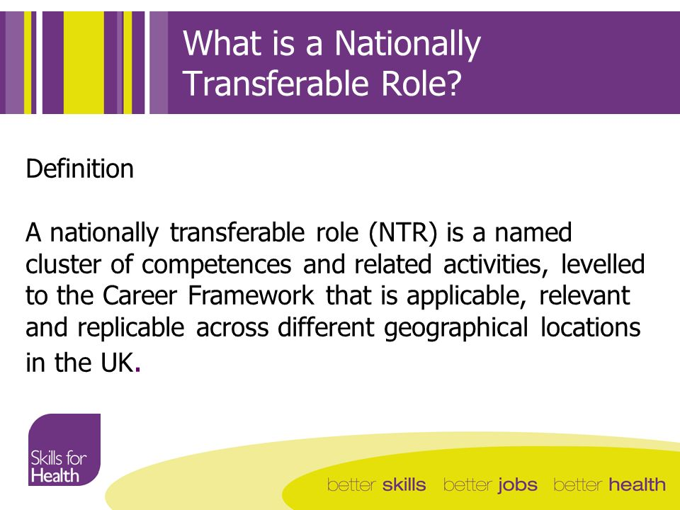 What is a Nationally Transferable Role? Definition A nationally transferable role (NTR) is a named cluster of competences and related activities, leve