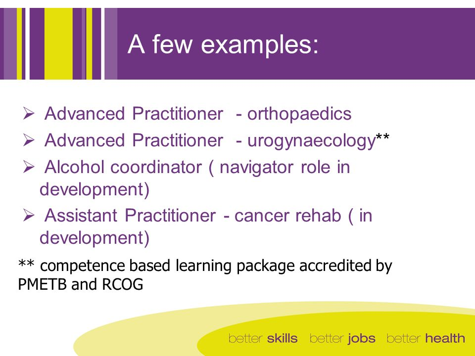 A few examples: Advanced Practitioner - orthopaedics Advanced Practitioner - urogynaecology** Alcohol coordinator ( navigator role in development) Ass