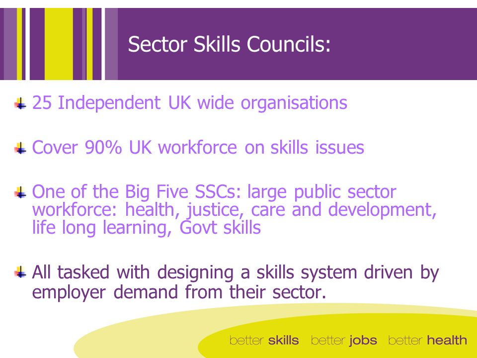 Sector Skills Councils: 25 Independent UK wide organisations Cover 90% UK workforce on skills issues One of the Big Five SSCs: large public sector workforce: health, justice, care and development, life long learning, Govt skills All tasked with designing a skills system driven by employer demand from their sector.