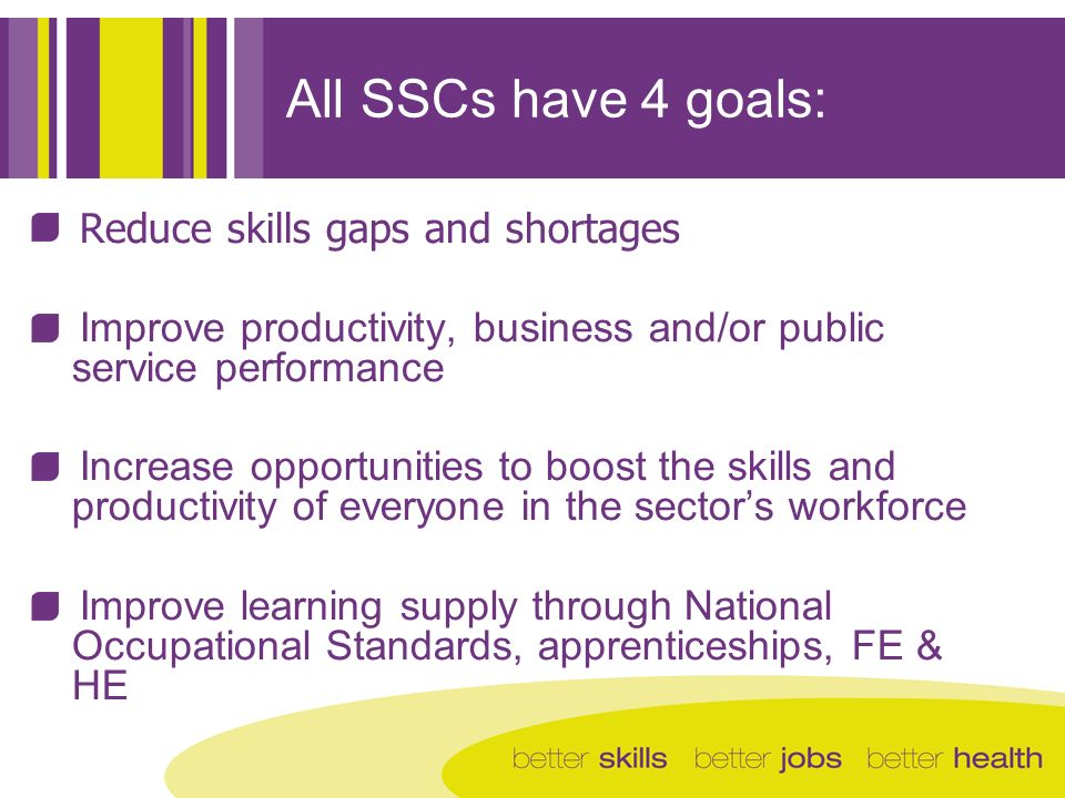 All SSCs have 4 goals: Reduce skills gaps and shortages Improve productivity, business and/or public service performance Increase opportunities to boo