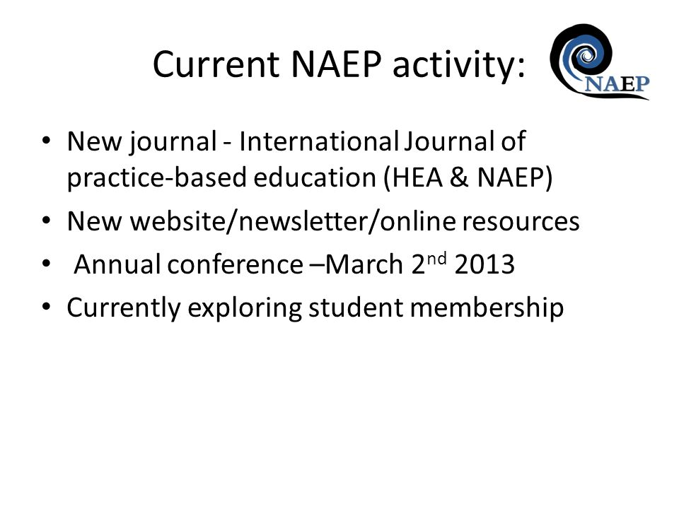 New journal - International Journal of practice-based education (HEA & NAEP) New website/newsletter/online resources Annual conference –March 2 nd 201
