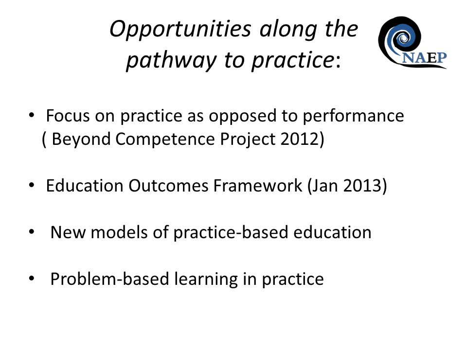 Focus on practice as opposed to performance ( Beyond Competence Project 2012) Education Outcomes Framework (Jan 2013) New models of practice-based edu