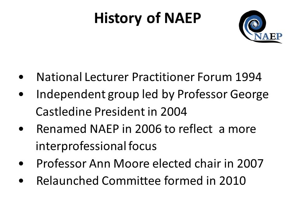National Lecturer Practitioner Forum 1994 Independent group led by Professor George Castledine President in 2004 Renamed NAEP in 2006 to reflect a mor