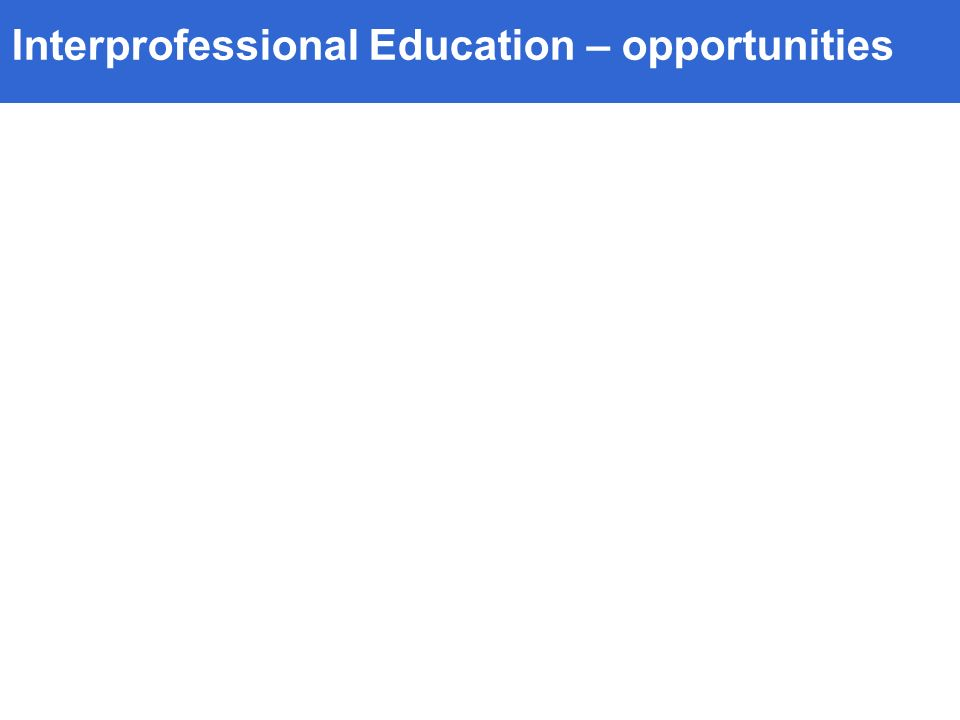 Interprofessional Education – opportunities