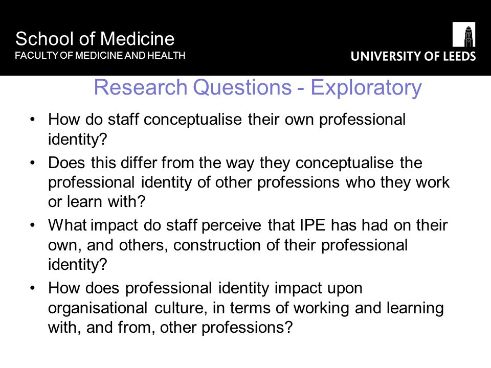 School of Medicine FACULTY OF MEDICINE AND HEALTH Research Questions - Exploratory How do staff conceptualise their own professional identity? Does th