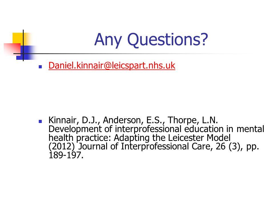Any Questions. Daniel.kinnair@leicspart.nhs.uk Kinnair, D.J., Anderson, E.S., Thorpe, L.N.