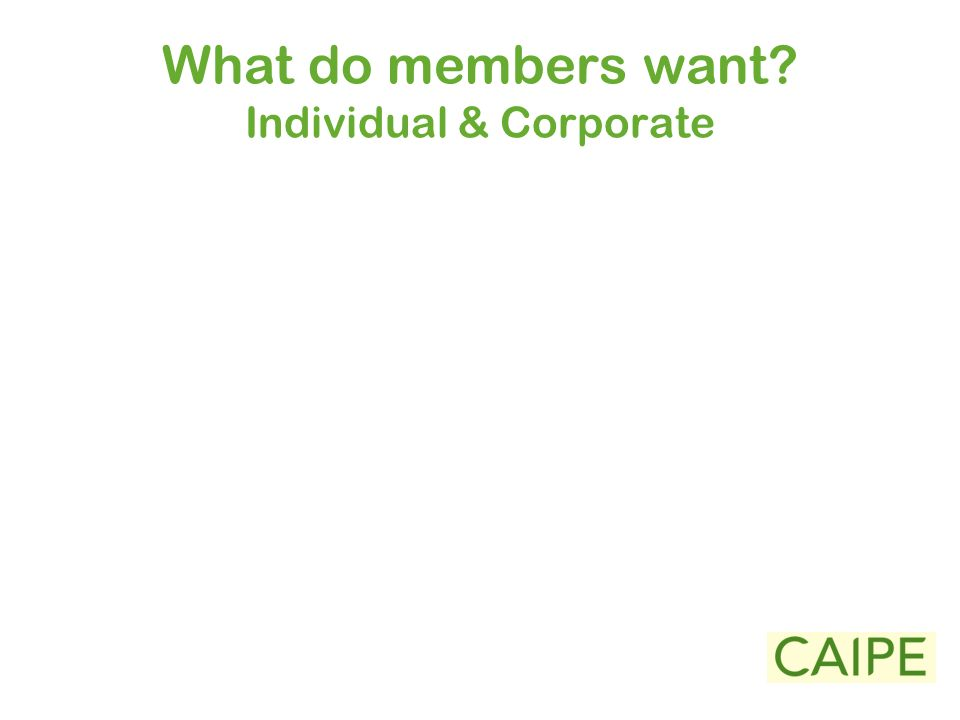 What do members want Individual & Corporate