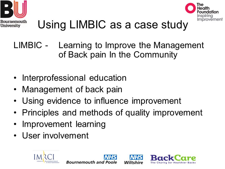 Using LIMBIC as a case study LIMBIC - Learning to Improve the Management of Back pain In the Community Interprofessional education Management of back