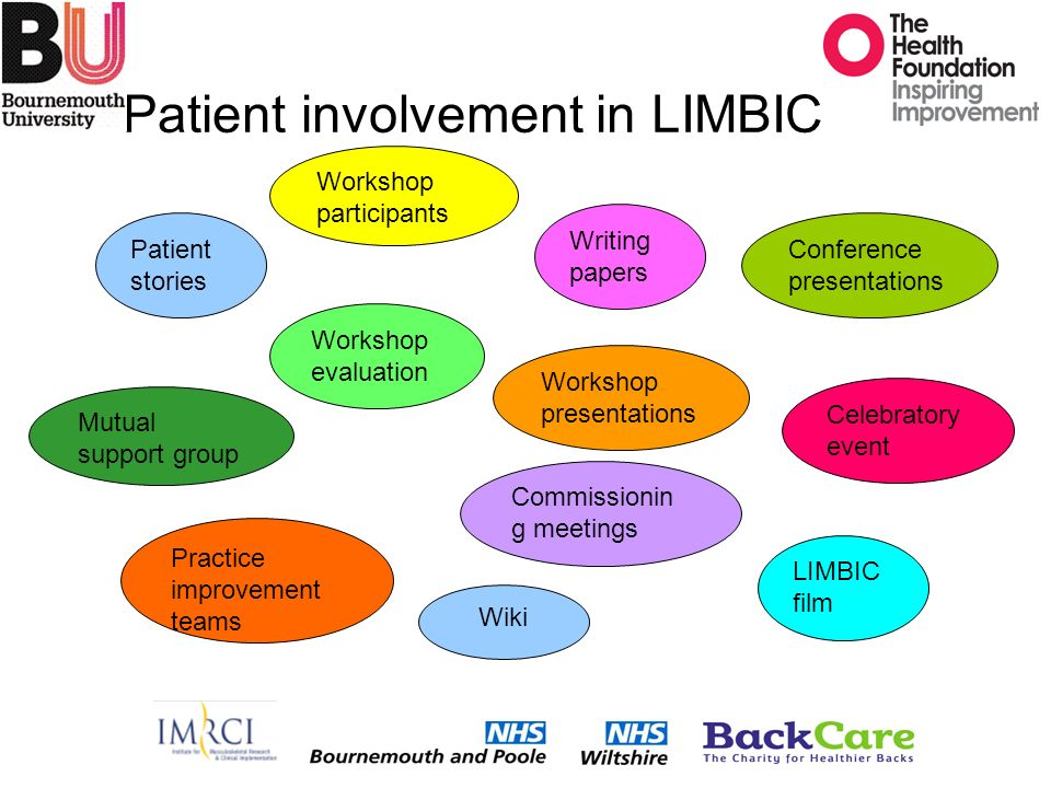 Patient involvement in LIMBIC Patient stories Mutual support group Workshop evaluation Writing papers Celebratory event Practice improvement teams Commissionin g meetings LIMBIC film Wiki Conference presentations Workshop participants Workshop presentations