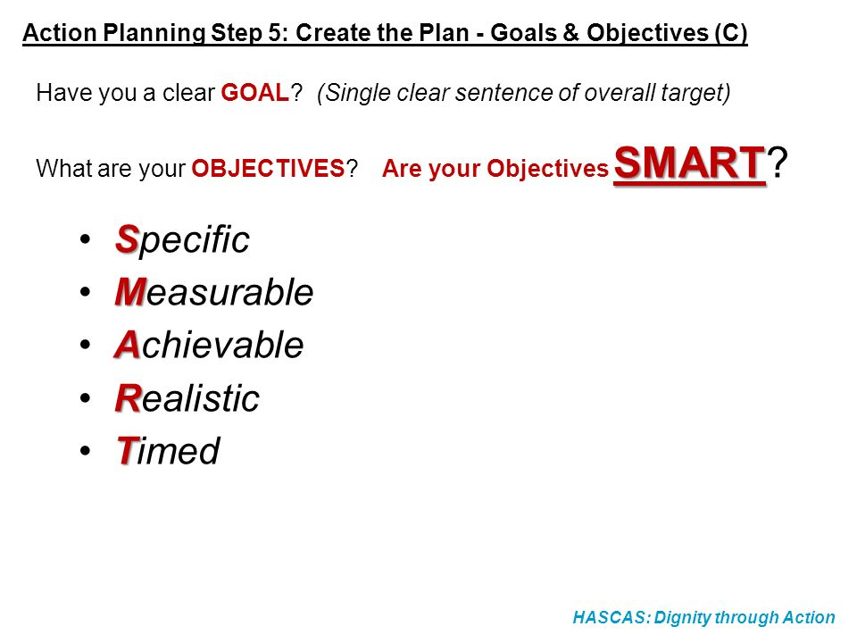 HASCAS: Dignity through Action Action Planning Step 5: Create the Plan - Goals & Objectives (C) Have you a clear GOAL? (Single clear sentence of overa