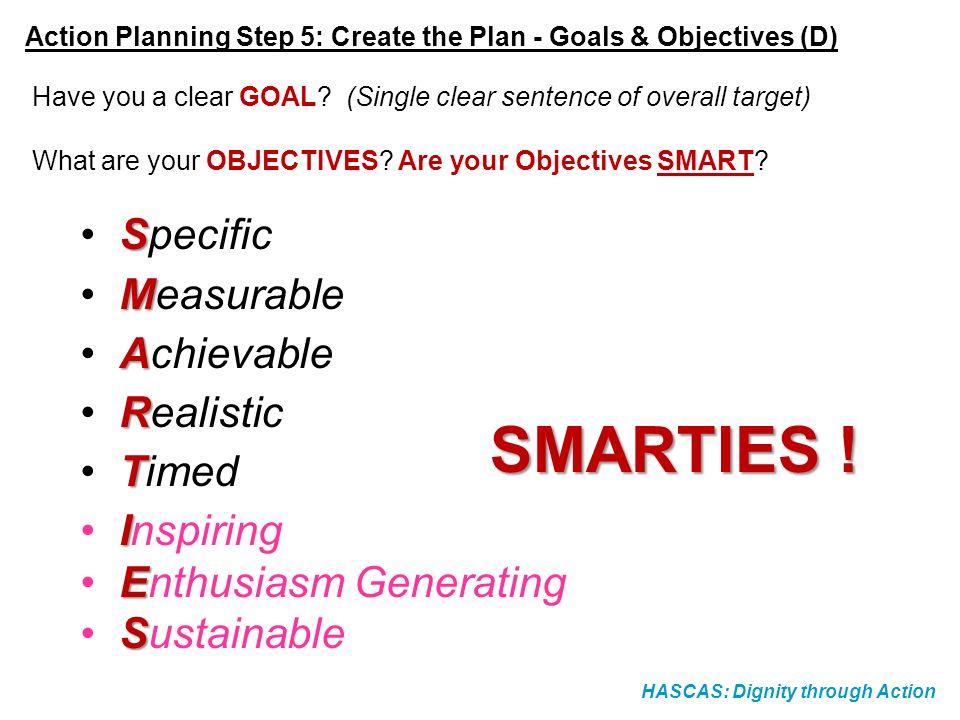 HASCAS: Dignity through Action Action Planning Step 5: Create the Plan - Goals & Objectives (D) Have you a clear GOAL? (Single clear sentence of overa
