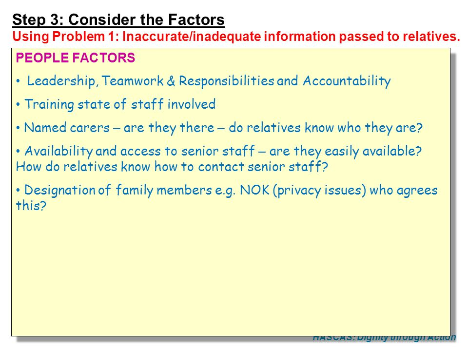HASCAS: Dignity through Action Step 3: Consider the Factors Using Problem 1: Inaccurate/inadequate information passed to relatives. PEOPLE FACTORS Lea