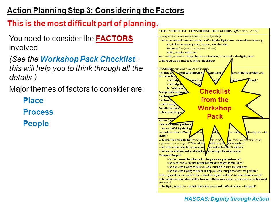 HASCAS: Dignity through Action Action Planning Step 3: Considering the Factors You need to consider the FACTORS involved (See the Workshop Pack Checklist - this will help you to think through all the details.) Major themes of factors to consider are: Place Process People This is the most difficult part of planning.