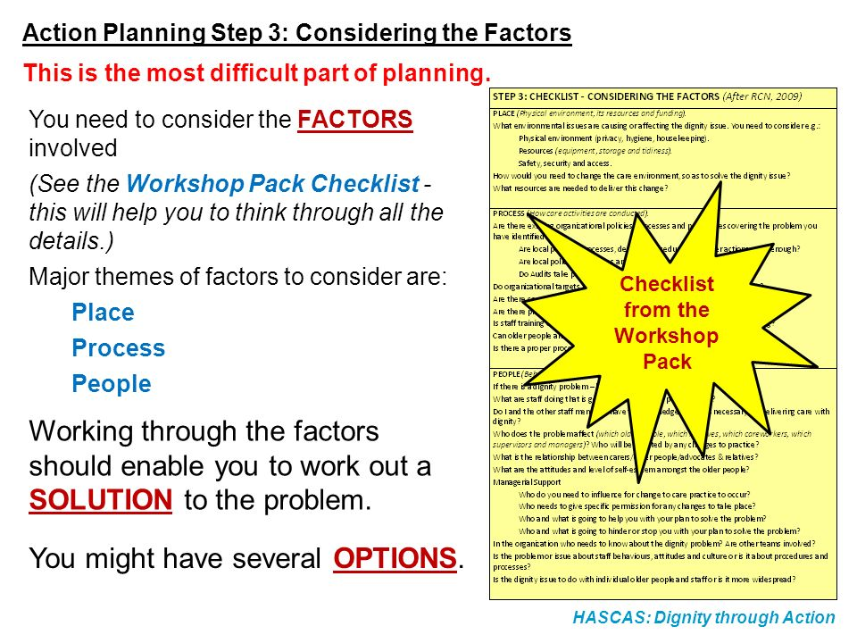 HASCAS: Dignity through Action Action Planning Step 4: What are my Options?