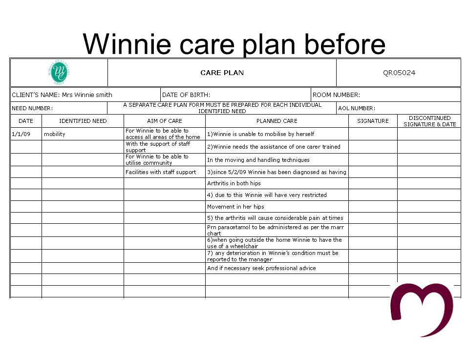Winnie Care plan after