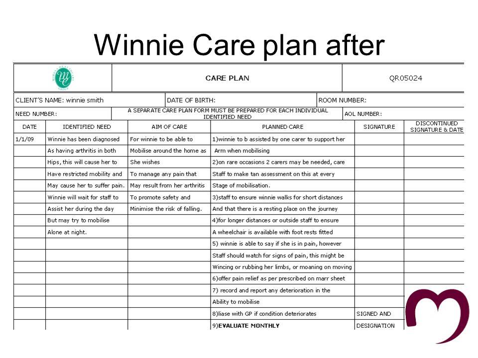 Jim care plan before