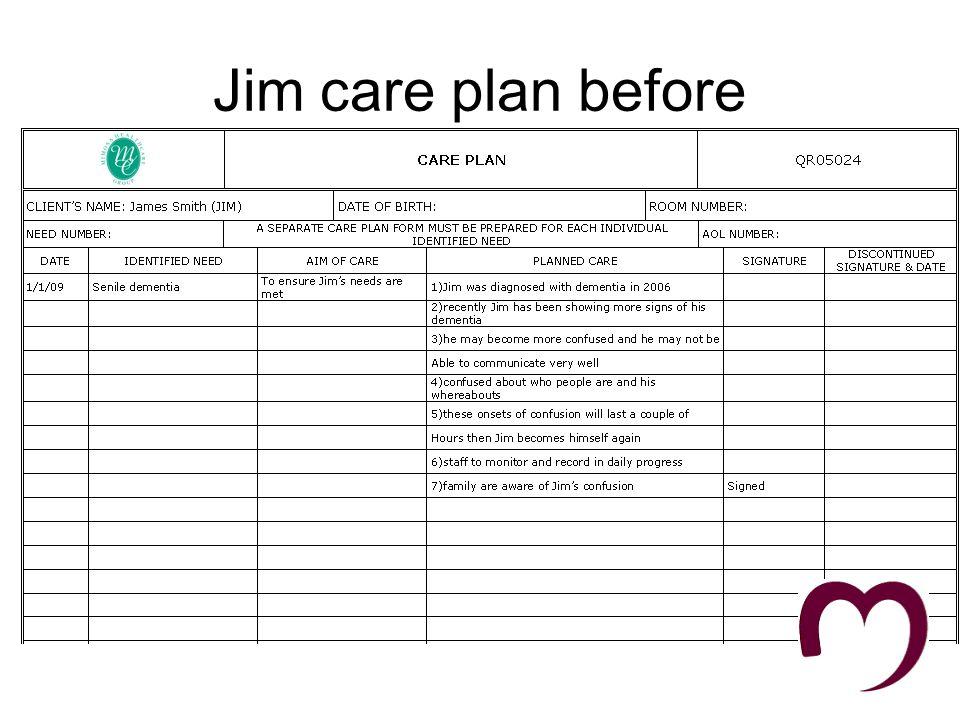 Jim Care plan after