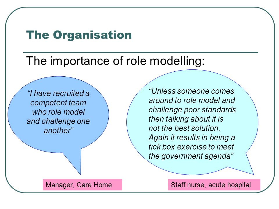 The Organisation The importance of role modelling: I have recruited a competent team who role model and challenge one another Unless someone comes around to role model and challenge poor standards then talking about it is not the best solution.