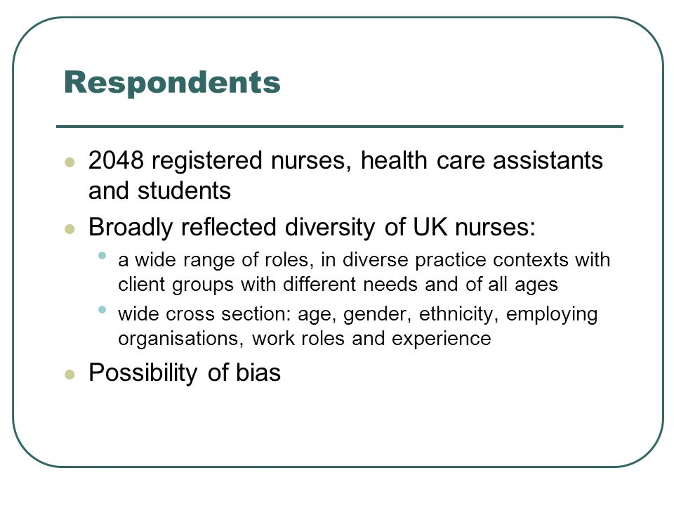 Respondents 2048 registered nurses, health care assistants and students Broadly reflected diversity of UK nurses: a wide range of roles, in diverse practice contexts with client groups with different needs and of all ages wide cross section: age, gender, ethnicity, employing organisations, work roles and experience Possibility of bias