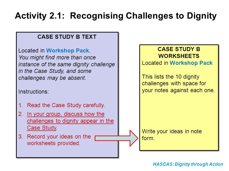 HASCAS: Dignity through Action CASE STUDY B TEXT Located in Workshop Pack. You might find more than once instance of the same dignity challenge in the