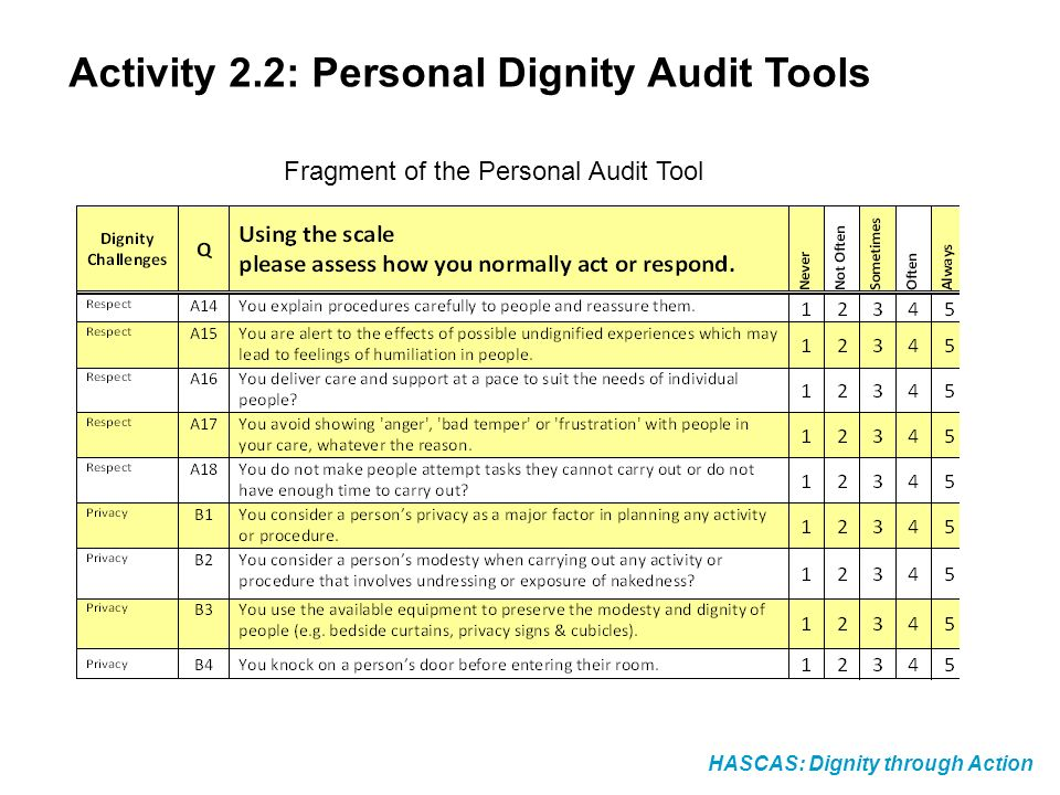 HASCAS: Dignity through Action Activity 2.2: Personal Dignity Audit Tools Fragment of the Personal Audit Tool