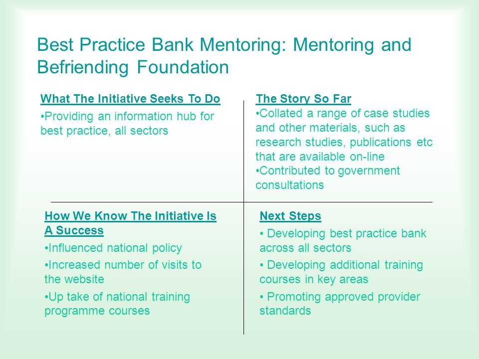 Best Practice Bank Mentoring: Mentoring and Befriending Foundation What The Initiative Seeks To Do Providing an information hub for best practice, all
