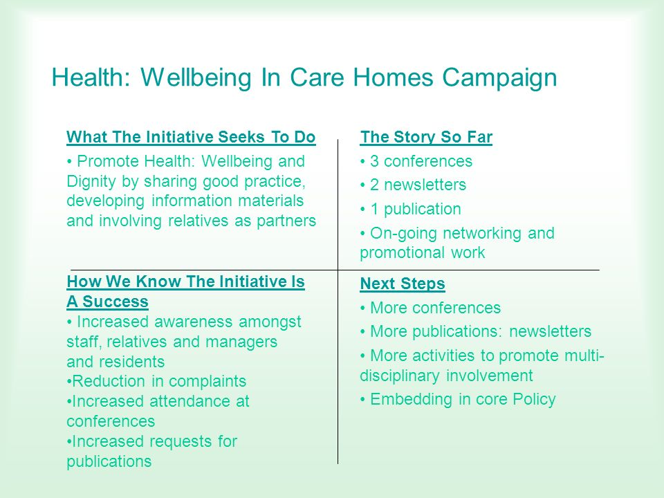 Health: Wellbeing In Care Homes Campaign What The Initiative Seeks To Do Promote Health: Wellbeing and Dignity by sharing good practice, developing in