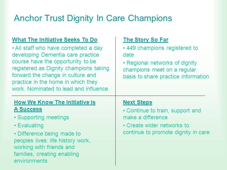 Anchor Trust Dignity In Care Champions What The Initiative Seeks To Do All staff who have completed a day developing Dementia care practice course hav