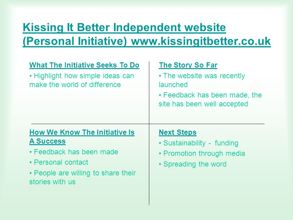 Kissing It Better Independent website (Personal Initiative) www.kissingitbetter.co.uk What The Initiative Seeks To Do Highlight how simple ideas can m