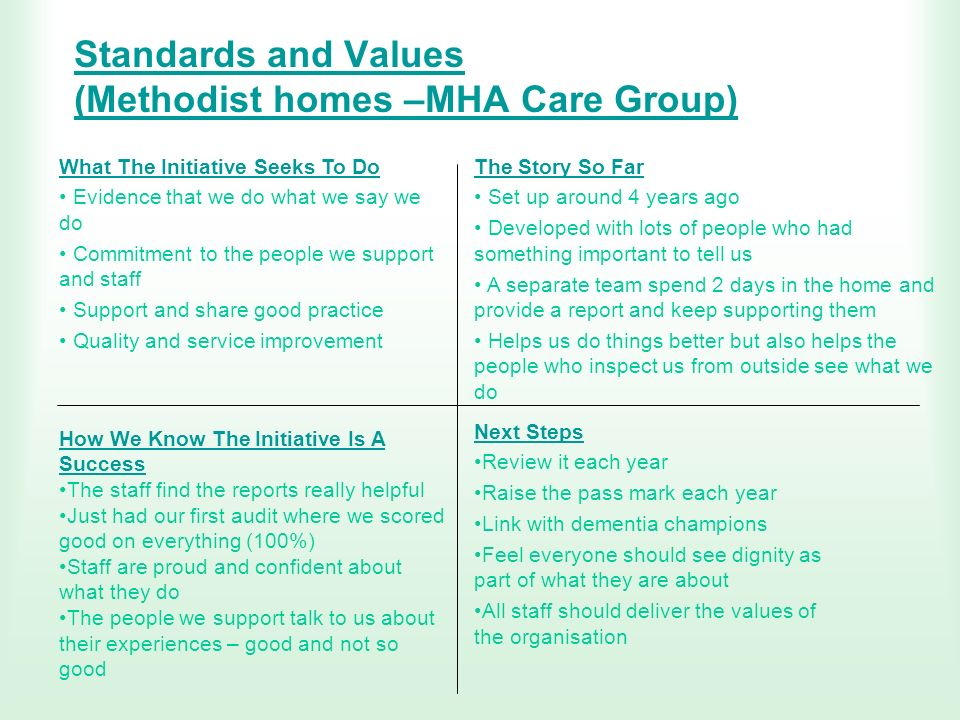 Standards and Values (Methodist homes –MHA Care Group) What The Initiative Seeks To Do Evidence that we do what we say we do Commitment to the people