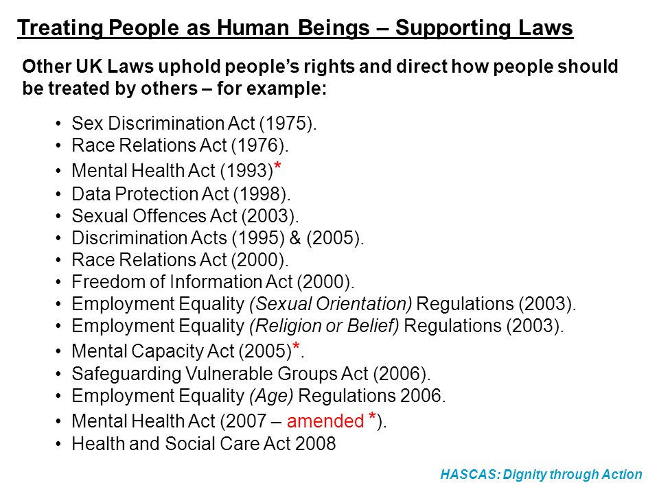 HASCAS: Dignity through Action Other UK Laws uphold peoples rights and direct how people should be treated by others – for example: Sex Discrimination