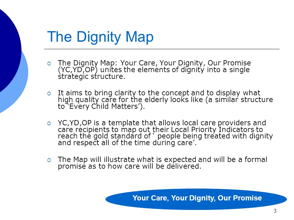 3 The Dignity Map The Dignity Map: Your Care, Your Dignity, Our Promise (YC,YD,OP) unites the elements of dignity into a single strategic structure.