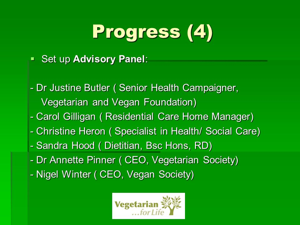Progress (4) Set up Advisory Panel: Set up Advisory Panel: - Dr Justine Butler ( Senior Health Campaigner, Vegetarian and Vegan Foundation) Vegetarian and Vegan Foundation) - Carol Gilligan ( Residential Care Home Manager) - Christine Heron ( Specialist in Health/ Social Care) - Sandra Hood ( Dietitian, Bsc Hons, RD) - Dr Annette Pinner ( CEO, Vegetarian Society) - Nigel Winter ( CEO, Vegan Society)