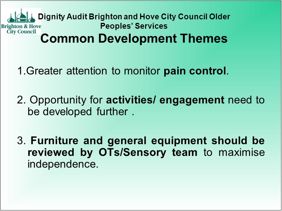 Dignity Audit Brighton and Hove City Council Older Peoples Services Common Development Themes 1.Greater attention to monitor pain control. 2. Opportun