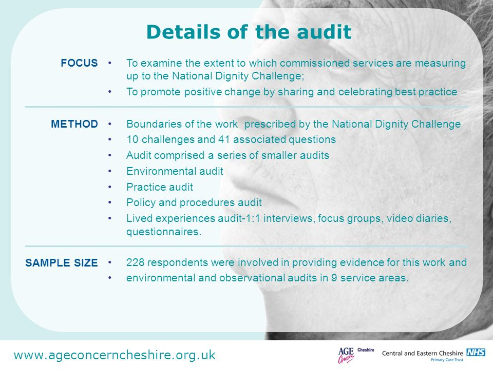 www.ageconcerncheshire.org.uk Details of the audit To examine the extent to which commissioned services are measuring up to the National Dignity Chall