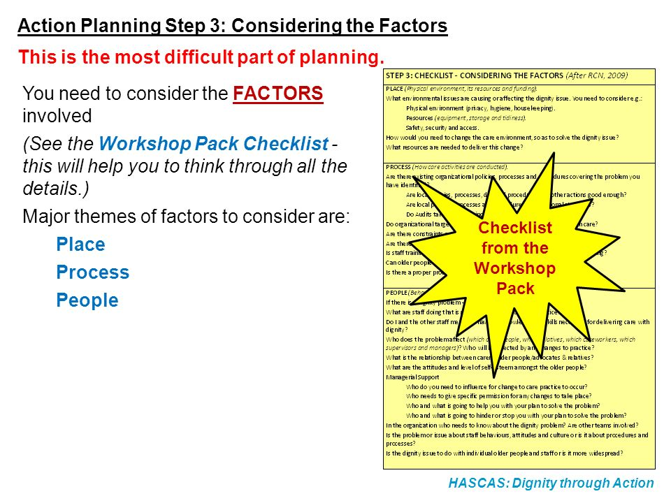 HASCAS: Dignity through Action Action Planning Step 3: Considering the Factors You need to consider the FACTORS involved (See the Workshop Pack Checkl