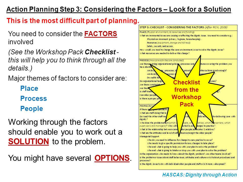 HASCAS: Dignity through Action Action Planning Step 3: Considering the Factors – Look for a Solution You need to consider the FACTORS involved (See th