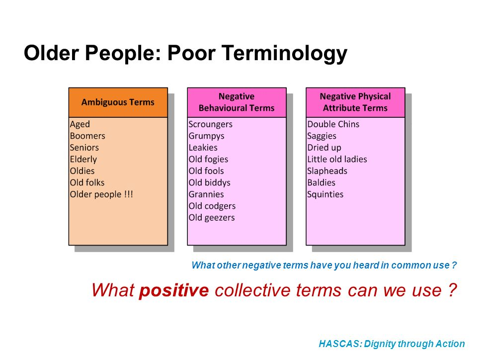 HASCAS: Dignity through Action Older People: Poor Terminology What other negative terms have you heard in common use .