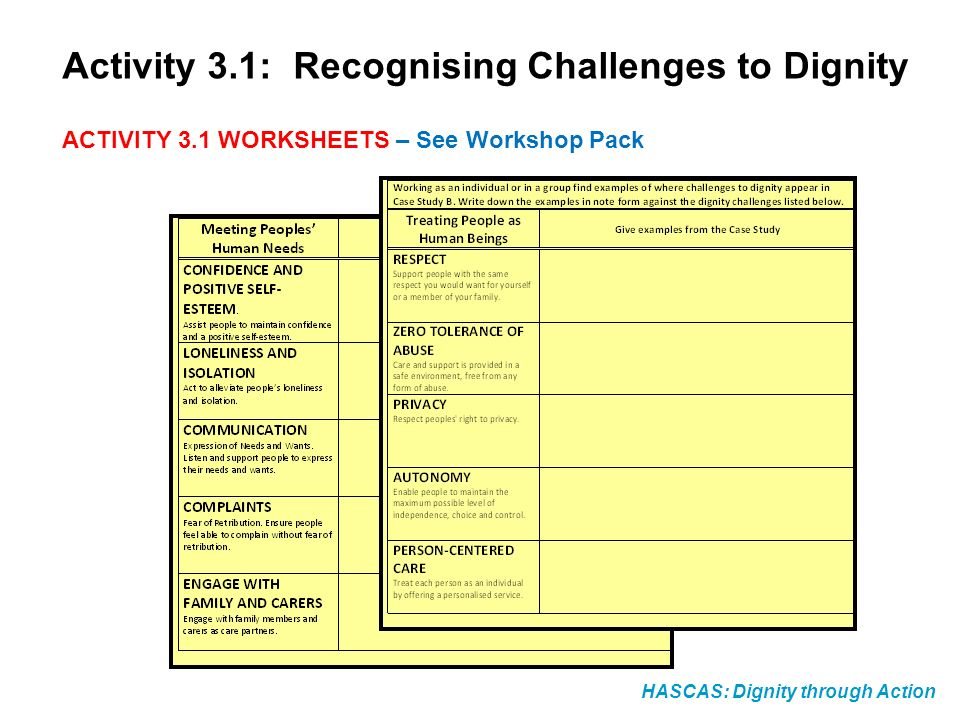 HASCAS: Dignity through Action Activity 3.1: Recognising Challenges to Dignity ACTIVITY 3.1 WORKSHEETS – See Workshop Pack