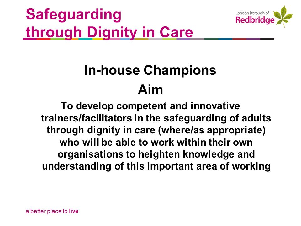 a better place to live Safeguarding through Dignity in Care In-house Champions Aim To develop competent and innovative trainers/facilitators in the safeguarding of adults through dignity in care (where/as appropriate) who will be able to work within their own organisations to heighten knowledge and understanding of this important area of working