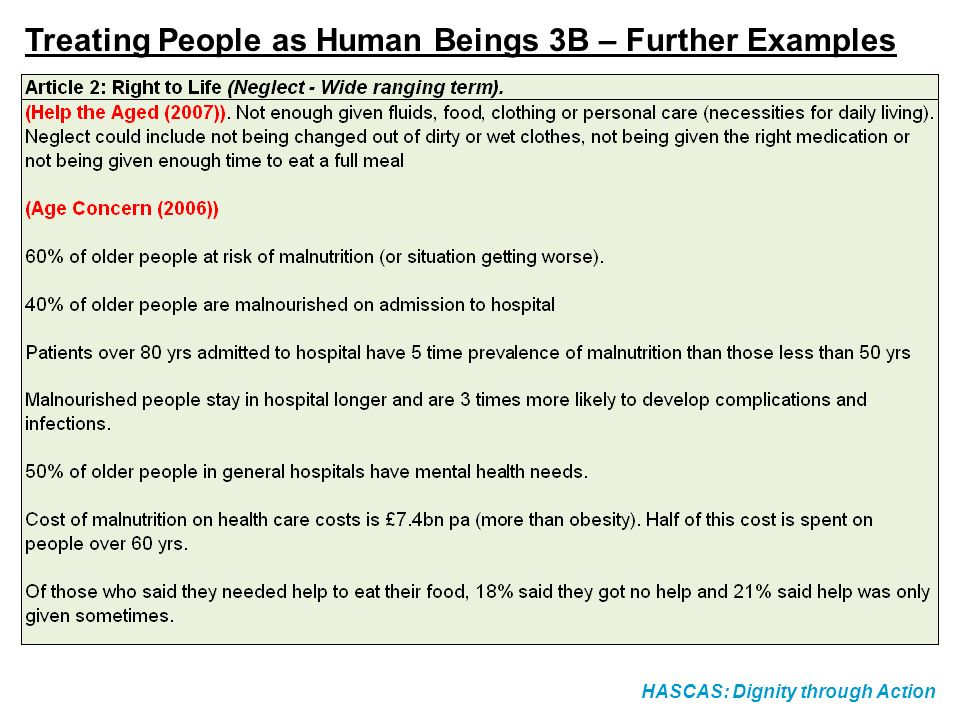 HASCAS: Dignity through Action Treating People as Human Beings 3B – Further Examples
