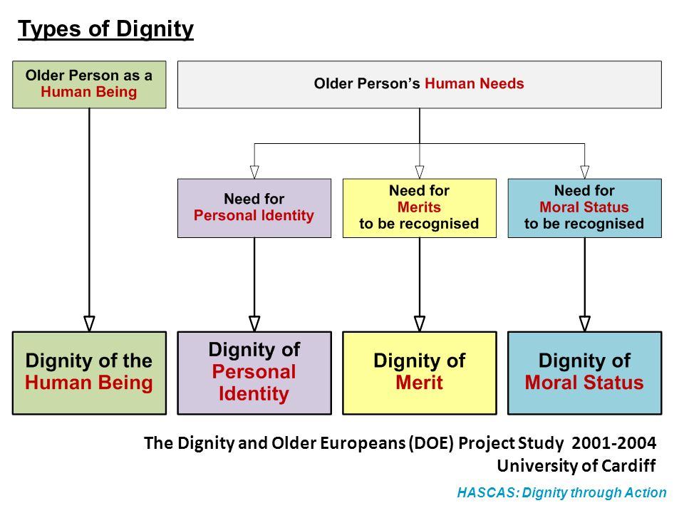 HASCAS: Dignity through Action Types of Dignity The Dignity and Older Europeans (DOE) Project Study 2001-2004 University of Cardiff