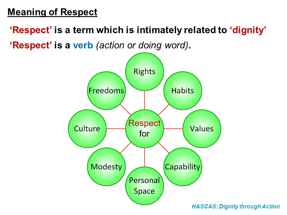 HASCAS: Dignity through Action Meaning of Respect Respect is a term which is intimately related to dignity Respect is a verb (action or doing word).