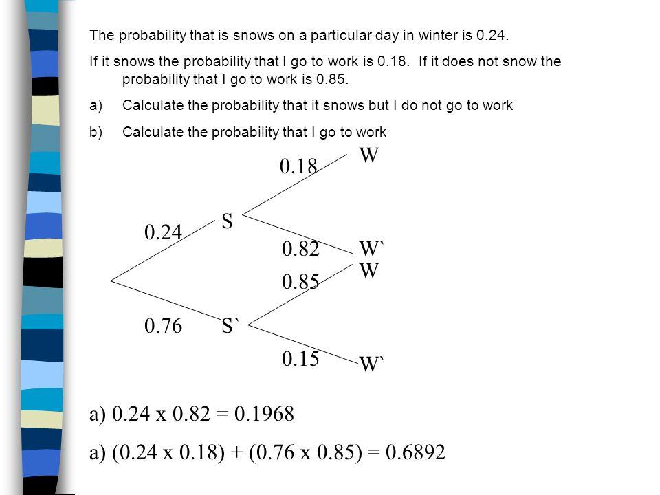 SOLUTION A discrete random variable has the following probability distribution X123456 P(X=x)0.20.150.20.30.10.05 P(1 < X < 5) = P(X=2,3 or 4) = 0.15 + 0.2 + 0.3 = 0.65 P(2 X 4) = P(X=2,3 or 4) = 0.15 + 0.2 + 0.3 = 0.65 P(3 < X 6) = P(X=4,5 or 6) = 0.3 + 0.1 + 0.05 = 0.45 P(X < 3) = P(X=1 or 2) = 0.2 + 0.15 = 0.35