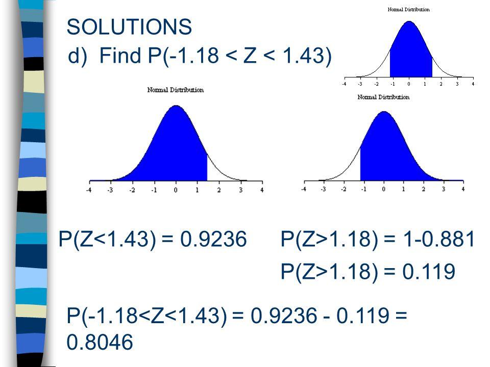 SOLUTIONS P(Z<1.43) = 0.9236 d) Find P(-1.18 < Z < 1.43) P(Z>1.18) = 1-0.881 P(Z>1.18) = 0.119 P(-1.18<Z<1.43) = 0.9236 - 0.119 = 0.8046