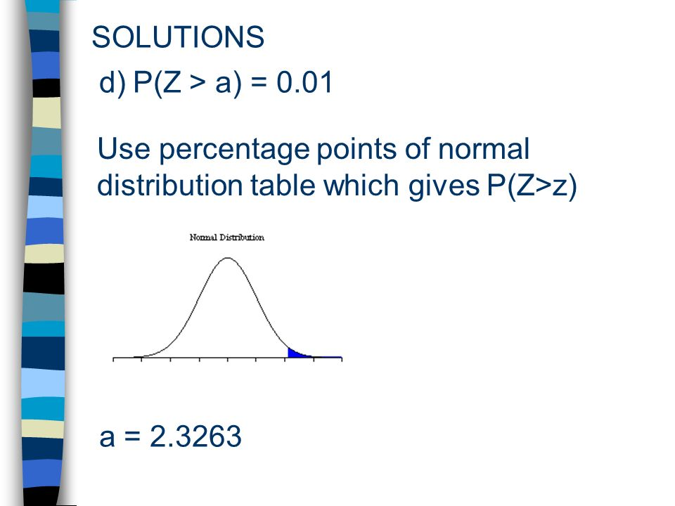 SOLUTIONS Use percentage points of normal distribution table which gives P(Z>z) d)P(Z > a) = 0.01 a =