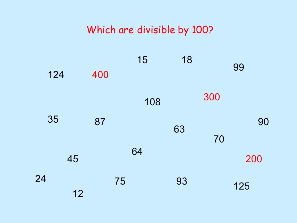 24 70 12 400 200 300 18 124 75 15 87 108 45 35 64 63 93 90 125 99 Which are divisible by 10?